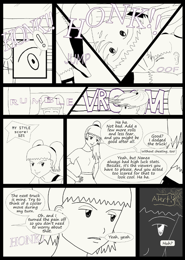 'Not A Villain' Webcomic - Kleya succeeds in avoiding the truck, but doesn't do it cool enough.