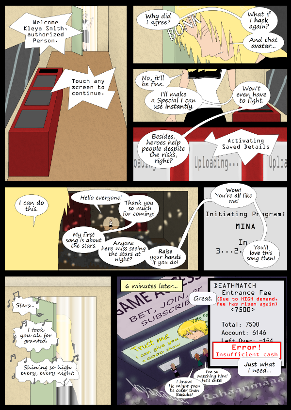 'Not A Villain' Webcomic - Mina starts to sing. Kleya goes outside to sign up, but doesn't have enough money for the DeathMatch.