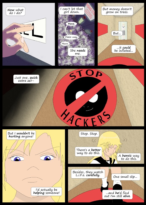 'Not A Villain' Webcomic - Kleya thinks about cheating...then remembers why she shouldn't.