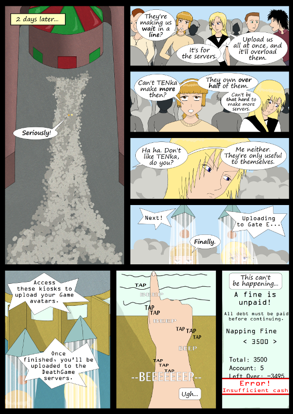 'Not A Villain' Webcomic - They're entering the DeathMatch, but Kleya has to pay a fine.