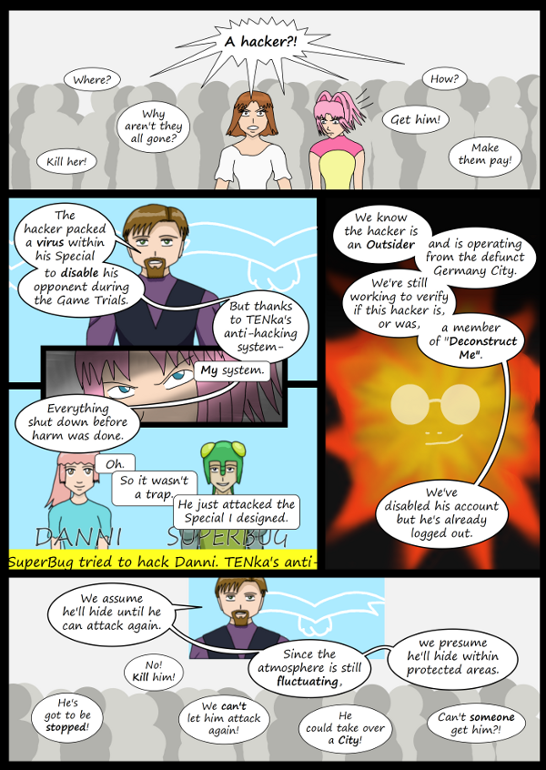 'Not A Villain' Webcomic - TENka calms everyone down. The hacker needs to be caught.