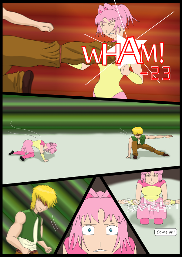 'Not A Villain' Webcomic - Bandit hits Kleya. Kleya frantically tries to summon her Special.