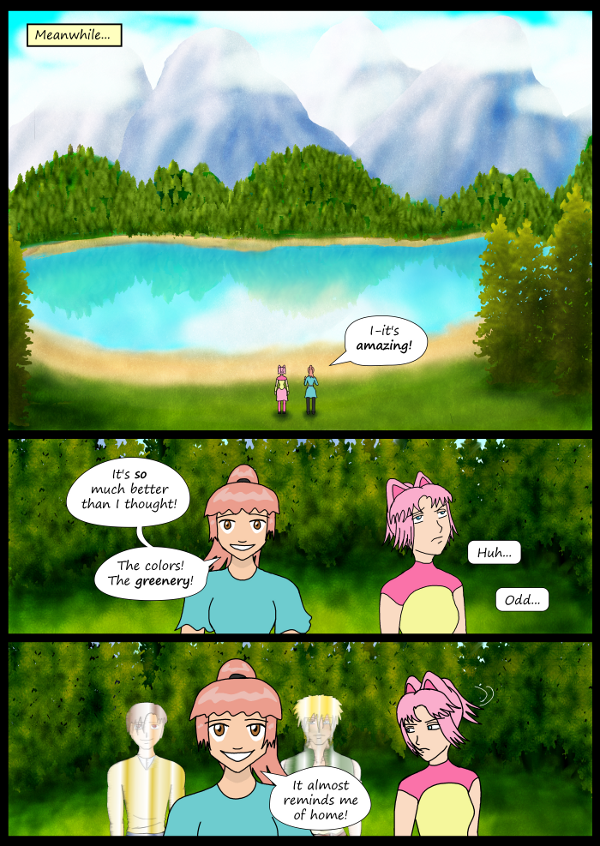 'Not A Villain' Webcomic - Kleya and Danni enter a pretty area.