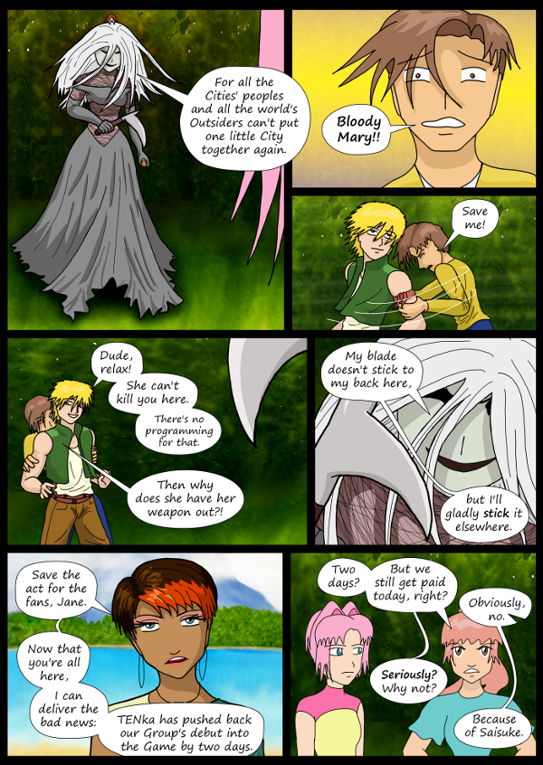 'Not A Villain' Webcomic - Bloody Mary/Jane arrives. Sandra delivers bad news.