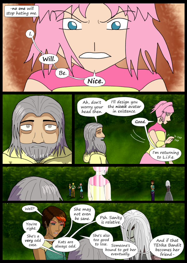 'Not A Villain' Webcomic - Kleya resolves to be nice. She logs out. The others talk about her.