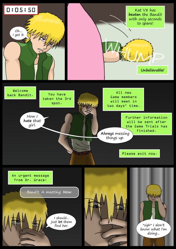 'Not A Villain' Webcomic - Kleya wins. Bandit is not happy.
