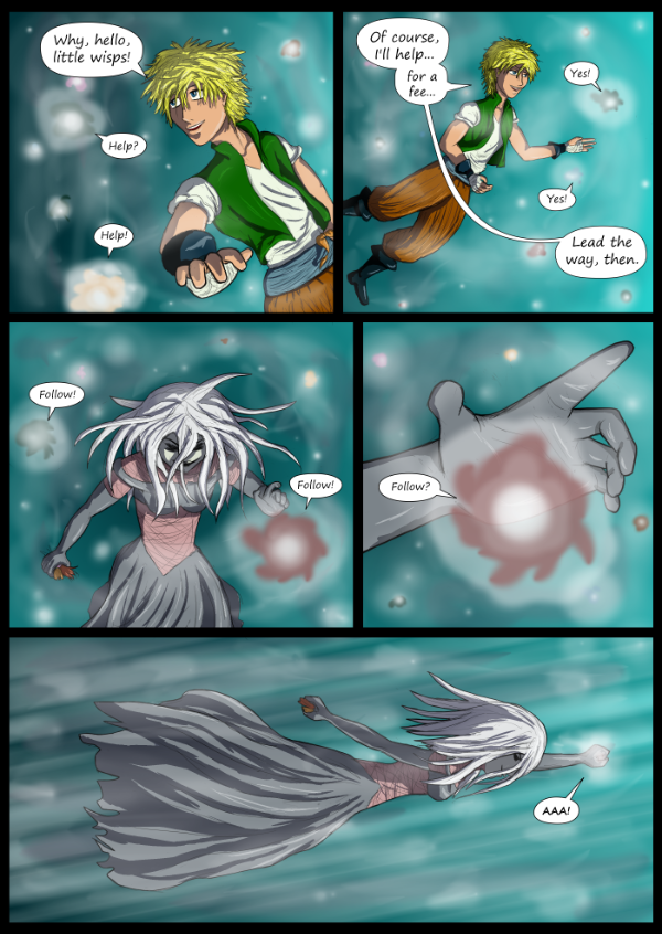 'Not A Villain' Webcomic - Bandit and Jane deal with wisps.