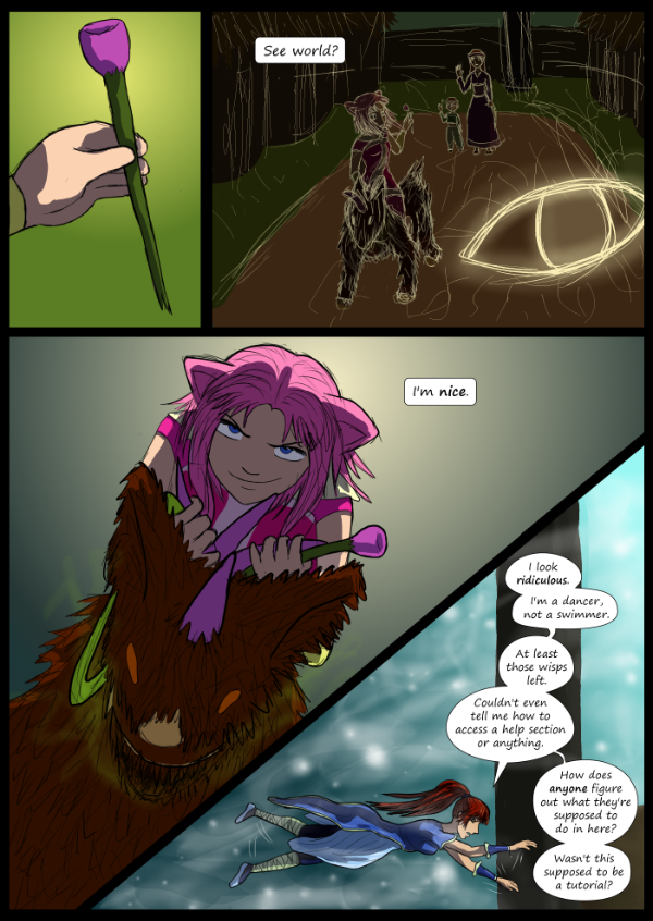 'Not A Villain' Webcomic - Kat gets the flower. Danni is arriving at the island.