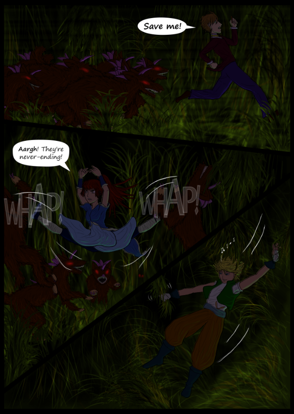 'Not A Villain' Webcomic - Fiendi overwhelming Dude and Danni and while Bandit slides down the sloped jungle land.